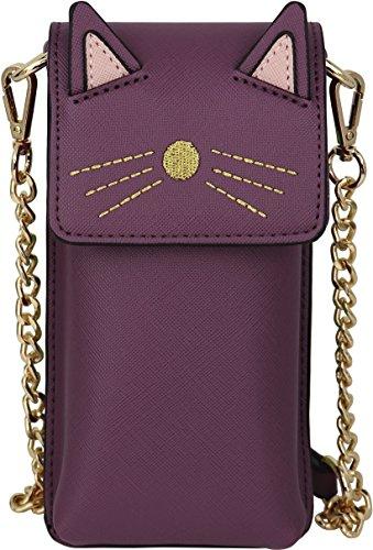 B BRENTANO Geldbörse aus veganem Saffiano-Leder, Katzenmotiv, Violett (violett), Small Leather Multi-strap