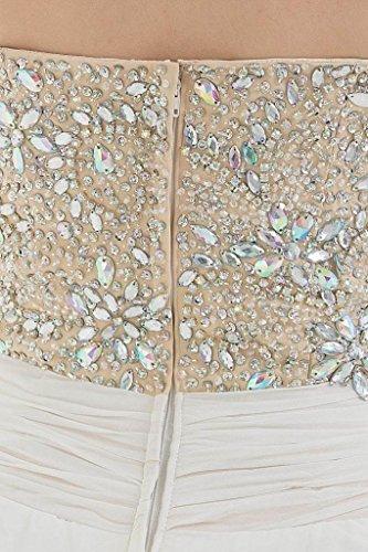 GEORGE BRIDE Anmutige Chiffon Liebsten Perlen mit Split-Vorderabendkleid Weiß