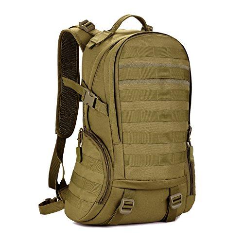 DCCN 25L Taktischer Rucksack Militär Wanderrucksack Molle Daypack mit Regenhülle für Outdoor Wandern Camping Reisen Brown