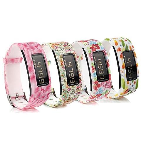 Fit-power bandes de poignets d'accessoire de rechange colorées en silicone pour Garmin Vivofit (Bandes de remplacement uniquement), Pack of 4E