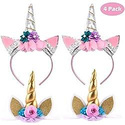 Mattelsen Unicornio Cuerno Diadema con Flores Orejas plateado brillante para Cumpleaños Cosplay Party Accesorio (4 Piezas)