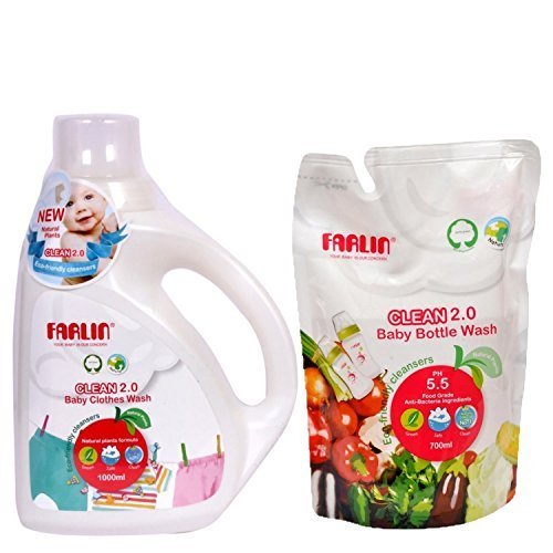 Combo Pack Of Farlin Eco-Friendly Baby Liquid Laundry-Clothing Detergent 1000ml Bottle + Eco-Friendly Liquid Cleanser 2.0 For Baby Bottles, Accessories, Fruits And Vegetables (Refill Pack 700ml)