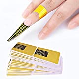 nuoshen 200 Pcs Nail Art Forms Sticker, Acrylic Tips Gel Extension Sticker Guide for Women Girls