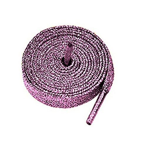 Farbige Metallic-Schnürsenkel, mit Glitzer, flach, 12mm breit x 80cm, 120cm lang, für Kinder- und Damen-Sportschuhe, Tanzschuhe und Schlittschuhe rosa rosa (glitter pink)