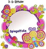 3-D Effekt _ Kinder Spiegel / Wandspiegel mit Spiegelfolie - ' Schmetterling & Blumen ' - selbstklebend & wiederverwendbar - als Wandsticker / Wandtattoo - Pop Up - Kinderzimmer - die Wand - Baby / Babyspiegel - Spiegelaufkleber - Mädchen - Kinderzimmerspiegel - Figur / Kinderspiegel - Baby-Spiegel / Fliesenspiegel - Schmetterlinge / Blüten - Blume - Wandbild