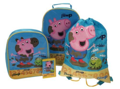 Peppa Pig George 4 Stück Gepäck Set - Trolley-Tasche, Rucksack, Schwimmen-Tasche und Geldbörse (Gepäck-set 4 Stück)