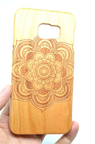 Cassa di Legno di Samsung Galaxy S6 Edge Plus, PhantomSky[Serie di Lusso] Qualit à Premium Cover in Bambù / Legno Naturale per il tuoSmartphone - Mandala di Legno Ciliegio(Cherry Wood Mandala)