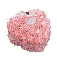 Bangle009 Novelty Romantic Wedding Rose Rhinestones Heart Ring Box Case Holder Jewelry Display - Rose Red