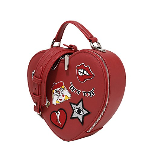 FZHLY Europa E La Spalla Stati Uniti Cuore Del Fumetto Di Stile A Forma Di Sacchetto,Red Red