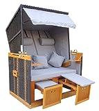 """Brubaker 2persona ratán poli mimbre silla de playa """"Strandkorb darkgrey- 3.93ft de ancho–2diferentes para tapicería fundas para cambio. Con lujo safety-cover."""