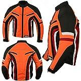New Short Motorbike Motorcycle Jacket Wind Waterproof Armoured All Sizes/Weather (Orange/Black, XL)