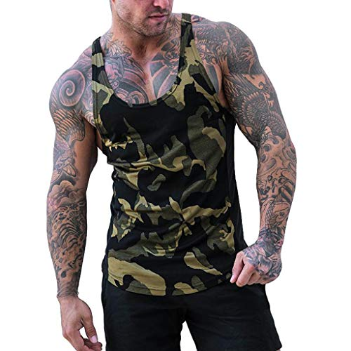 Camouflage Tank Top Herren Muskelshirt Sport Outdoor Gym Fitness & Bodybuilding Muscle Shirt Tanktop Unterhemd Achselshirt Casual Vest Shirts Trainingswest Männer Sommer Tops