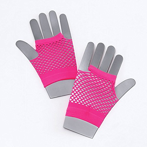 Short Neon Pink Fishnet Gloves for 80s and Punk Fancy Dress