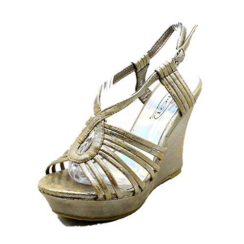 sendit4me Sandali di Strappy Dell'Alto Tallone delle Piattaforme delle Donne Bronze