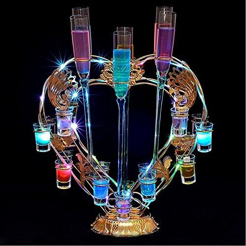 LSX - Weinregal Schmiedeeisen Desktop Bunte LED Light Charging Geeignet für viele Gelegenheiten Glühende Tasse Glas Cup Löcher: 24 (herzförmige), 15 (Saxophon), 12 (Ferris), 12 (Violine) / - / -