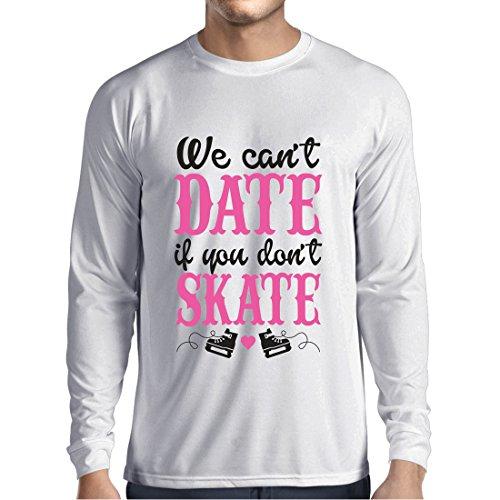Langarm Herren t shirts Kein Skate, kein Datum - coole Zitate Geschenk, lustige Dating Zitate (XX-Large Weiß Mehrfarben)