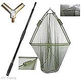 NGT - Red sacadera (106,68 cm) para pesca de carpa doble con sistema de flotación y mango de 2 m