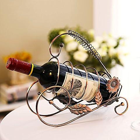 Étagère en verre à vin en fer / salon simple étagère / armoire à vin Décoration / restaurant étagère à vin rouge ( Couleur : Brass )