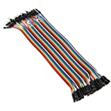 Accmart(TM) 40Pcs 20cm Male to Female M/F jumper Flexible Breadboard Wire Ribbon Cable Adapter jumpers for Arduino Colorful