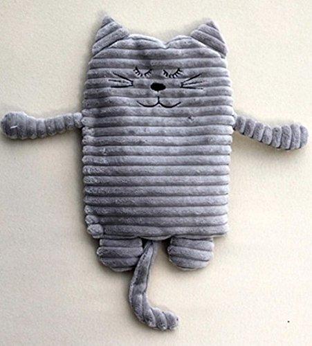 Inware 8717 - Peluche Chat, gris, 17 x 26 cm, pour le chauffage au micro-ondes, remplissage amovible