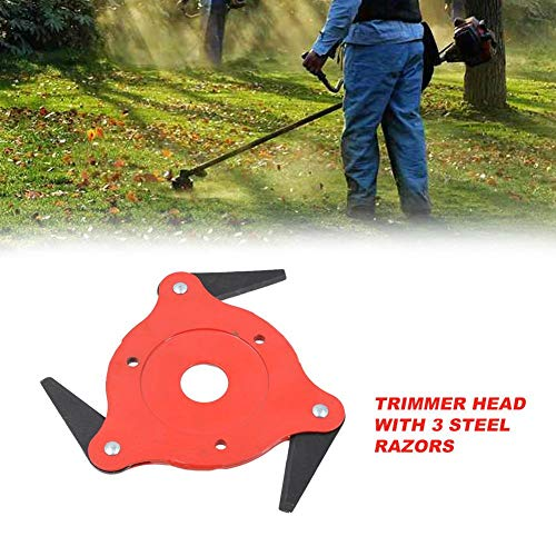 funnyfeng 65Mn Trimmer Head, Lawn Mower Trimmer Head, Manganese Steel Alloy Six-Cutter Hit Grass Head, 3 Steel Blades Razors 65mm Lawn Mower Grass Weed Eater Brush Cutter Tool (Razor Blade Hart,)