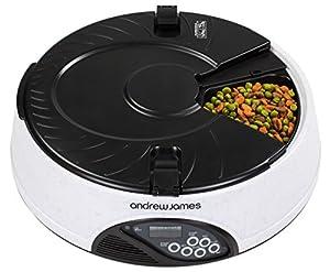 Andrew James Distributeur Automatique de Nourriture pour Animaux   4 Jours/Repas   Enregistreur Vocal + 2 Réducteurs de Volume + 1 Ecuelle Adaptateur