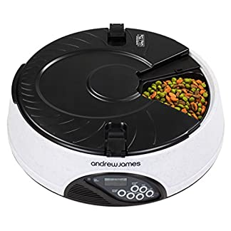 Andrew James Automatic Pet Feeder | For Cats Dogs Rabbits | With Timer and Voice Recorder | 6 Days or 6 Portion Food Dispenser with Anti Tamper Lids 51FbyK832nL