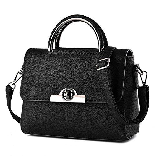 Neue Ledertasche Damen Handtasche Umhängetasche Mode Kleine Quadratische Tasche,Black