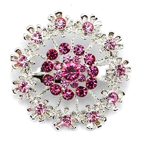 Elixir77UK Silver Colour Flower Decoration Fashion Gift Pin Brooch Badge With Pink Crystals