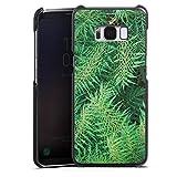 Samsung Galaxy S8 Lederhülle schwarz Leder Case Leder Handyhülle Farn Dschungel Wald