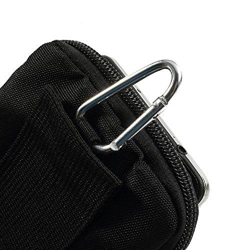 "DFV mobile® - Multi-functional Vertical Stripes Pouch Bag Case Zipper Closing Carabiner for =>      APPLE IPHONE 6 [4,7""] > BLACK XXL (19 X 10.5 cm) BLACK XL (16 X 10.5 cm)"