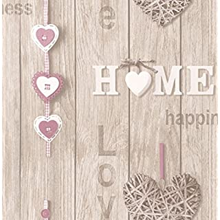 BHF FD41720 Love Your Home Wallpaper - Lilac/Beige (2-Piece)