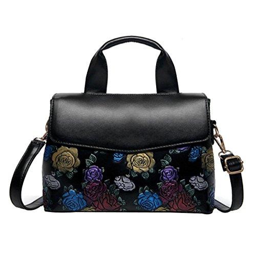 DHFUD Damen Umhängetasche Diagonal Tasche Handtasche Boston Tasche Geprägt Mode,Black-OneSize (Mode Geprägte Handtasche)