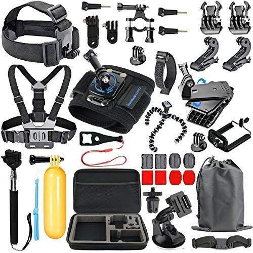 SmilePowo 18-in-1 Accessory Kit for GoPro Hero5 Black Hero5 Session Hero 4 Silver Black Hero Session Hero3 3 2 1 SJ4000 5000 6000 XIAOMIYI 2 Sports Camera Accessories