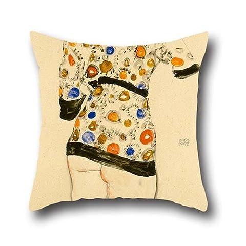 40,6x 40,6cm/40von 40cm Ölgemälde Egon Schiele–Stehende Frau in einer gemusterten Bluse Kissen, doppelte Seiten Ornament und Geschenk Wohnzimmer, Lounge, Mutter, Stuhl, Auto, Verwandte