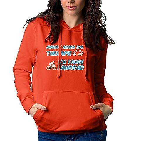 Shockproof - Andere gehen zur Therapie, Ich fahre Fahrrad - Damen Kapuzenpullover, Größe M, rot (Puky Crusader)