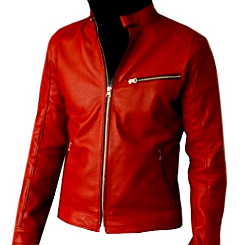 classyak Herren Fashion Elegant Hohe Qualität Biker Jacke Sheep Red