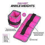 Gallant Ladies Pink Wrist Ankle Weights 2kg - 2 X 1kg / 2 X 0.5kg Pair Running Resistance Training Women Straps (1kg = 0.5kg x 2)