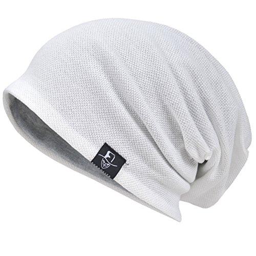 Herren Cool Slouch Mütze Dünne Sommer Schädel Hip-Hop Hüte (301-Weiß)