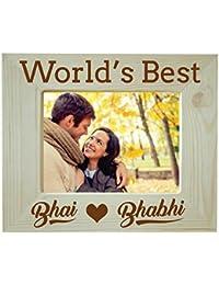Yaya Cafe Birthday Gifts for Brother Bhabhi Combo, Worlds Best Bhai Bhabhi Engraved Wooden Photo Frame for Table