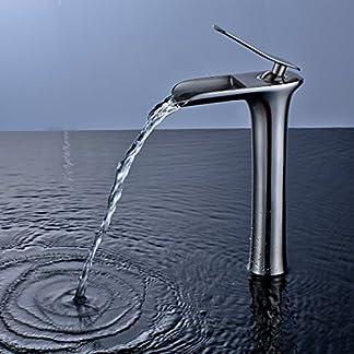 gimili cascada alto final Tall baño fregadero grifos sola manija buque Bar grifo de agua grifo mezclador para fregadero, níquel cepillado