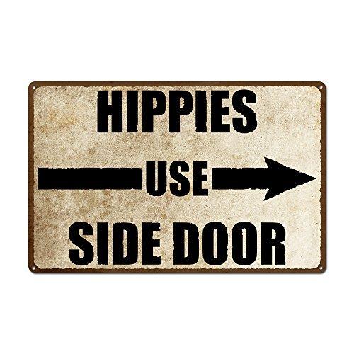 Hippies Utilisation Porte latérale Droite Pointue Vintage Metal Sign Retro Tin Plaque Murale Humoristique