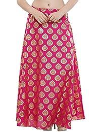NIKA Women's Dupion Silk Hand Block Printed Long Skirt By Kaanchie Nanggia (SKT926_Pink_Freesize)