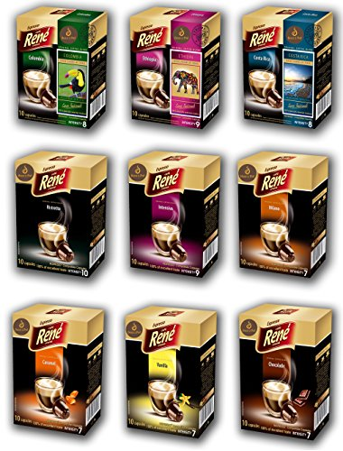 Bean2Pod: Rene Mixed Flavour Bundle - 90 Rene ®Nespresso Compatible Coffee Capsules