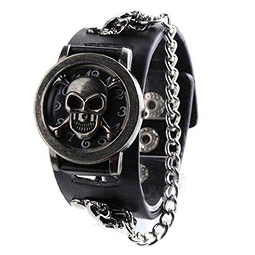 display08Herren Fashion Punk Armbanduhr Totenkopf Muster Rock Kette Kunstleder Band Armbanduhr–schwarz