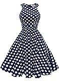MUADRESS 1950 Vintage 1950 Kleid mit Taschen Retro Rockabilly Cocktailkleider Faltenrock Marineblau Große Weiß Punkte S