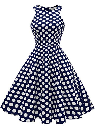 MUADRESS 1950 Vintage 1950 Kleid mit Taschen Retro Rockabilly Cocktailkleider Faltenrock Marineblau Große Weiß Punkte L
