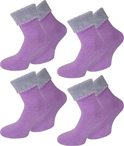 normani 4 Paar Warme Flauschige Angora Socken mit Umschlag vollplüsch, Super Weich und angenehm, Top Qualität Farbe Lila/Violett Größe 39/42 - Angora Socken