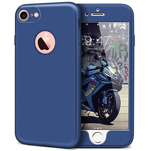 iPhone 6 / iPhone 6S Hülle, Yokata Rose Gold PC Hart Case mit TPU Silikon Weich Bumper Bling Glitzer Transparent Durchsichtig Dünn Case Schutzhülle Protective Cover Blau