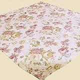 heimtexland ® LANDHAUS Rosen Tischdecke in 85x85 cm aus hochwertigem Jacquard in creme rosé mit Blumen Druck Rose - Mitteldecke Country Chic Typ442